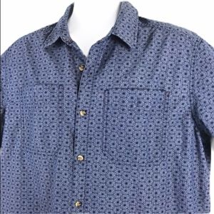 LL Bean Camp Shirt Starburst Circle Print Blue